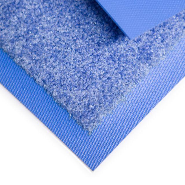 Blaue Schmutzfangmatte mit farblich angepassten Rand und Flor. Hohe Schmutzaufnahme und zudem ist die Matte waschbar.